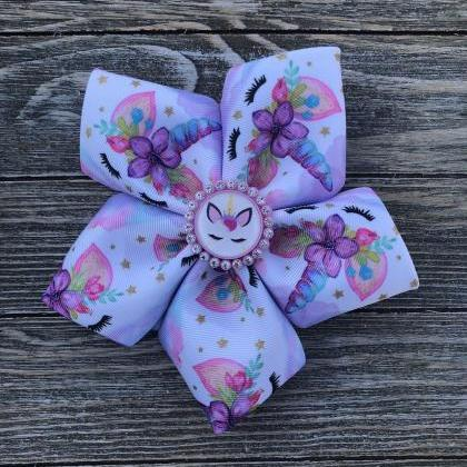Unicorn jumbo hair bow