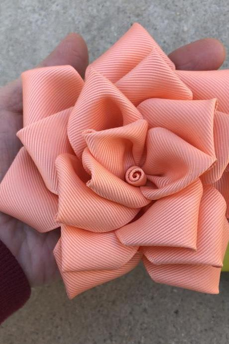 Rose ribbon barrettes