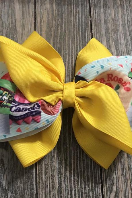 Mexican Candy Bow, Princess Bow, Yellow ribbon