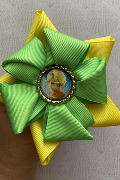 Tinker bell inspired hair bow set green and yellow