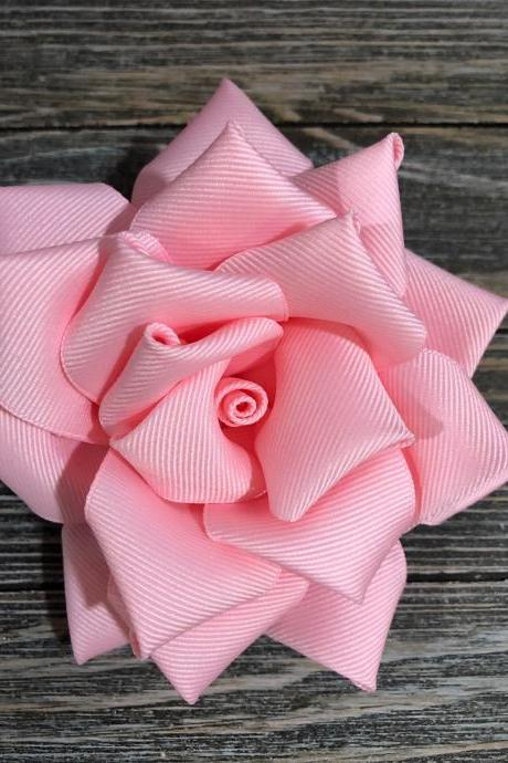 Wedding Roses made with Ribbon handmade hair bow