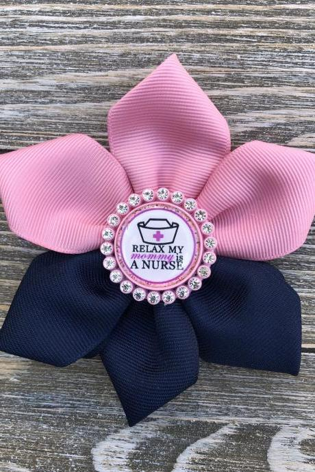 Girls hair bows/nurse theme in pink and navy blue