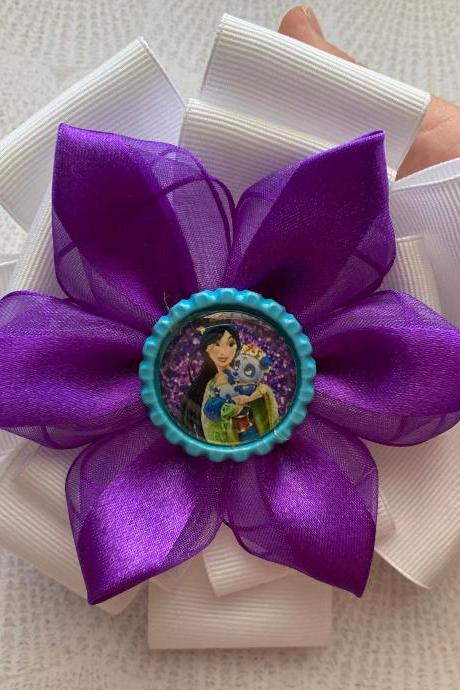 Mulan inspired hair bow in purple with white