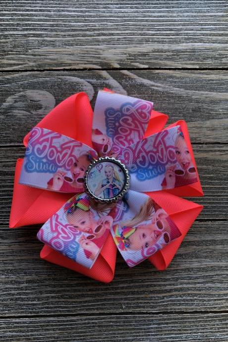 Jojo inspired hair bow for girls in hot pink