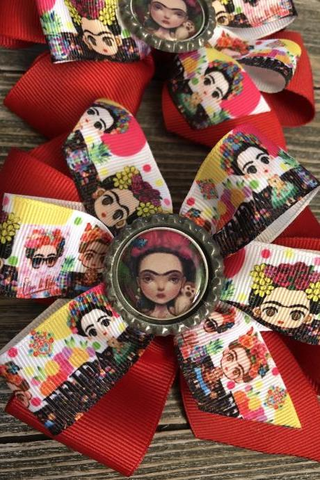 Mexican Lotería bows/Pinwheel Frida inspired girl hair bows handmade
