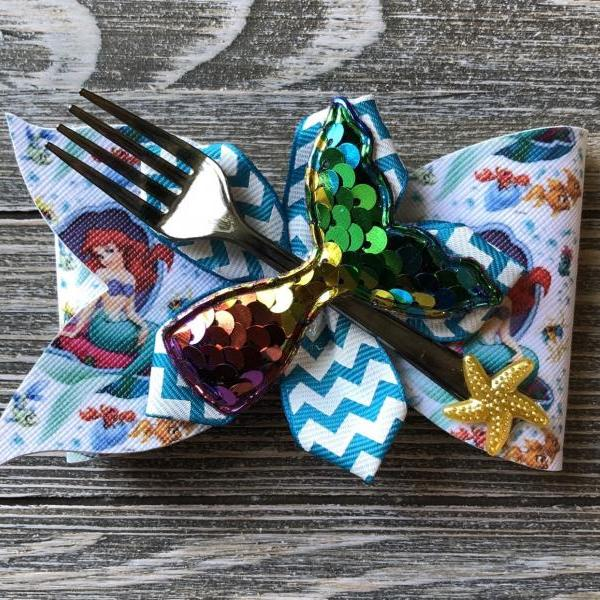Little Mermaid inspired vinyl hair bow
